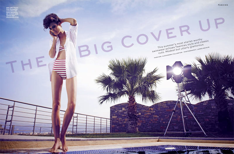 big coverup stylist1 Sarah Ann Macklin Models Swimsuits for Stylist Magazines Summer Spread