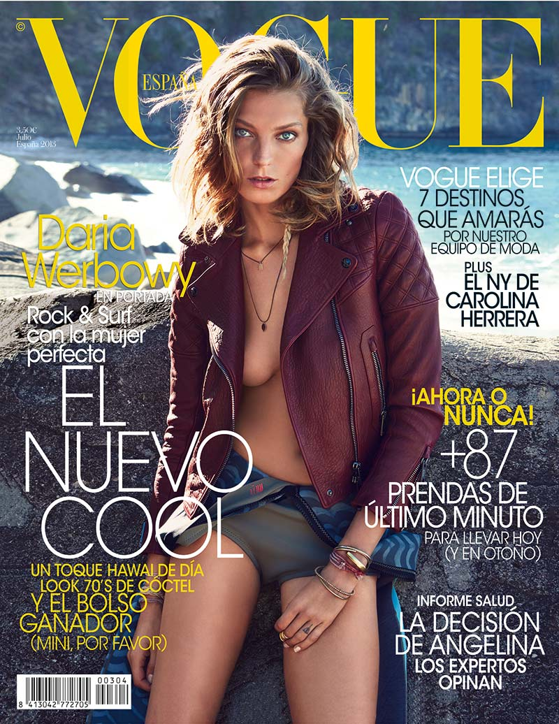 daria vogue cover Daria Werbowy Covers Vogue Spains July 2013 Issue