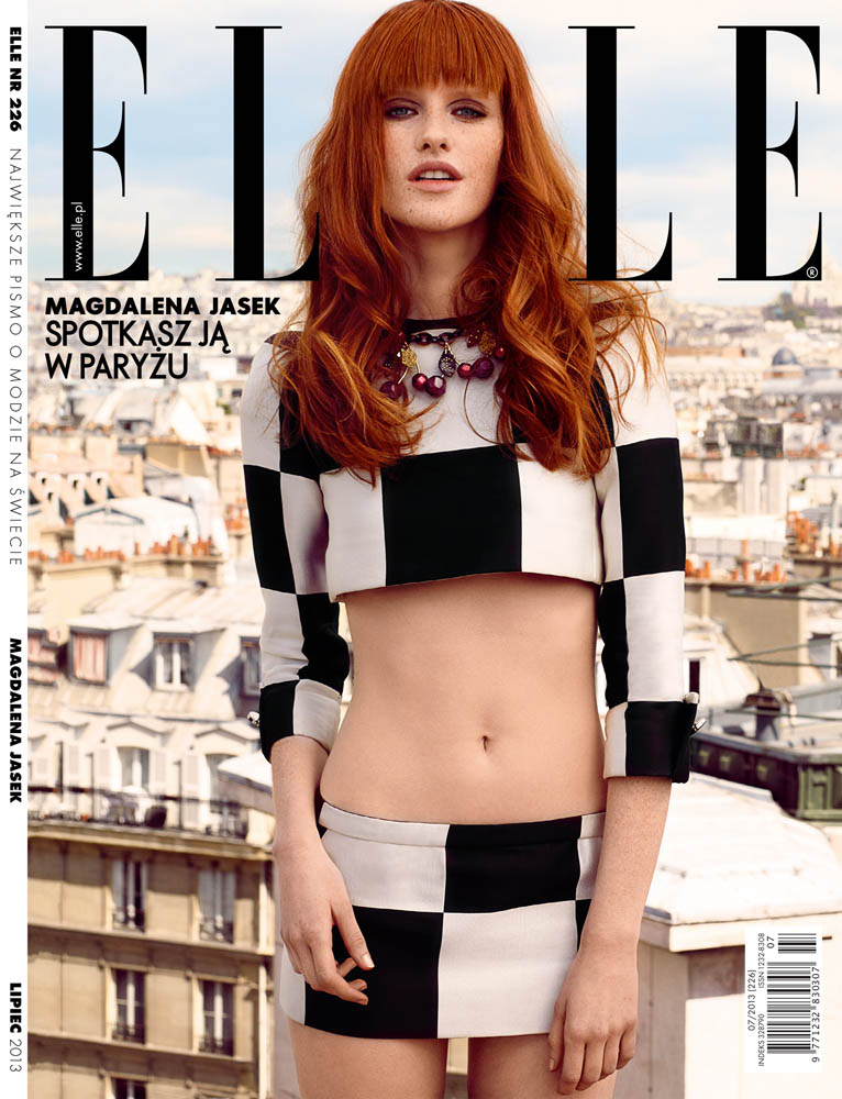 Magdalena Jasek Wears Louis Vuitton Wardrobe for Elle Poland July 2013 by Agata Pospieszynska