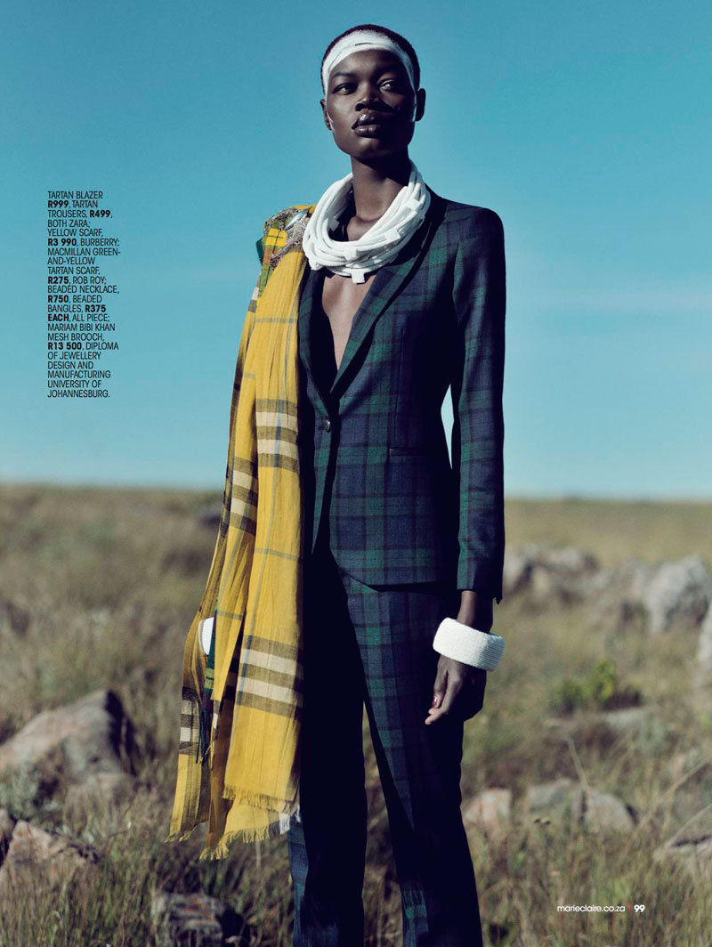 highlander marie claire10 Aluad Deng Anei Sports Tartans and Plaids for Marie Claire South Africa