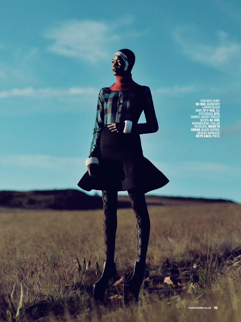highlander marie claire6 Aluad Deng Anei Sports Tartans and Plaids for Marie Claire South Africa