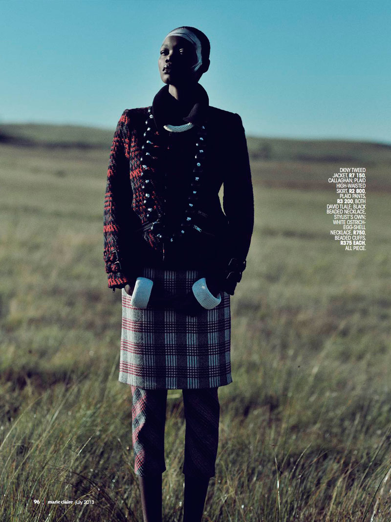 highlander marie claire7 Aluad Deng Anei Sports Tartans and Plaids for Marie Claire South Africa