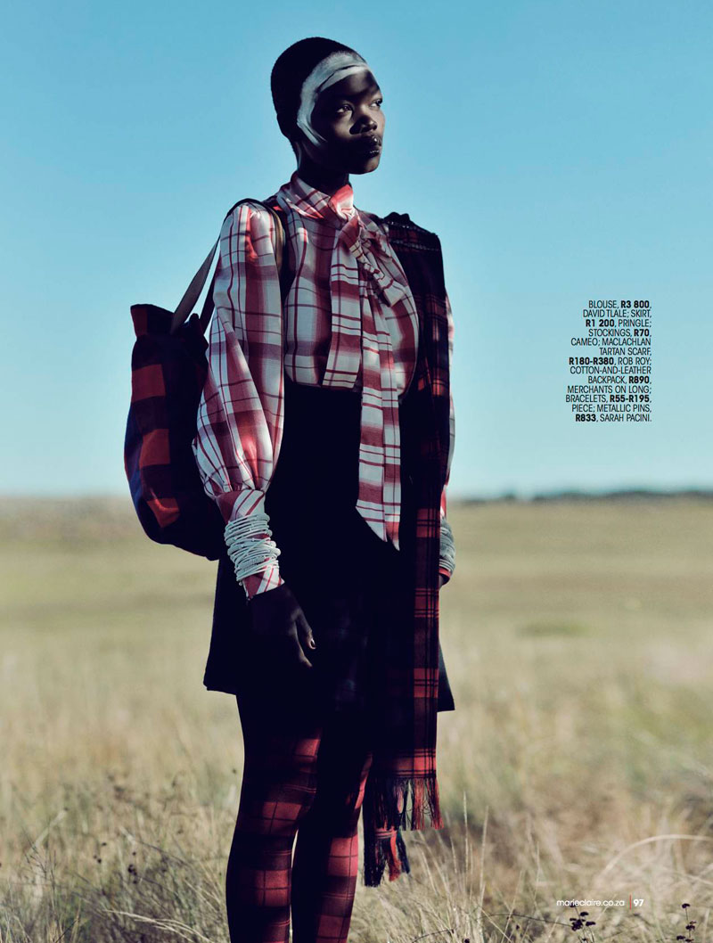 highlander marie claire8 Aluad Deng Anei Sports Tartans and Plaids for Marie Claire South Africa