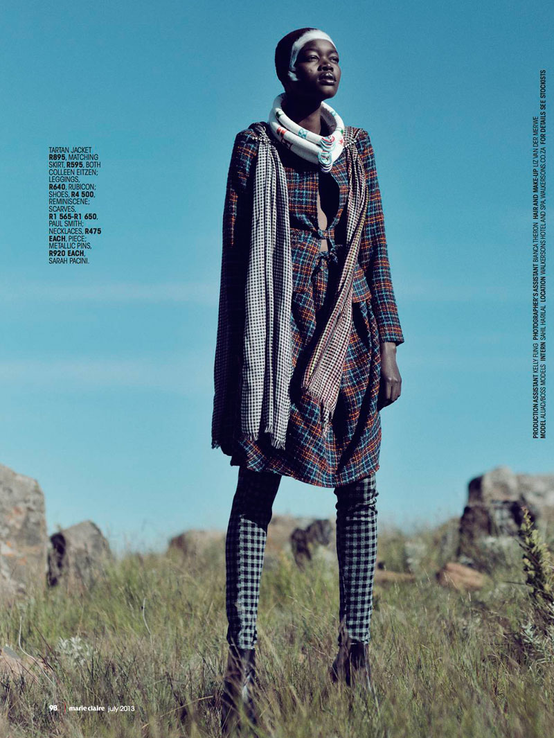 Aluad Deng Anei Sports Tartans and Plaids for Marie Claire South Africa