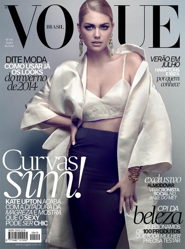 Kate Upton Models Miu Miu on Vogue Brazil July 2013 Cover
