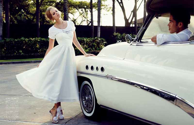marloes horst bridal shoot4 Marloes Horst Plays a Blushing Bride for Vogue Japan Wedding Special