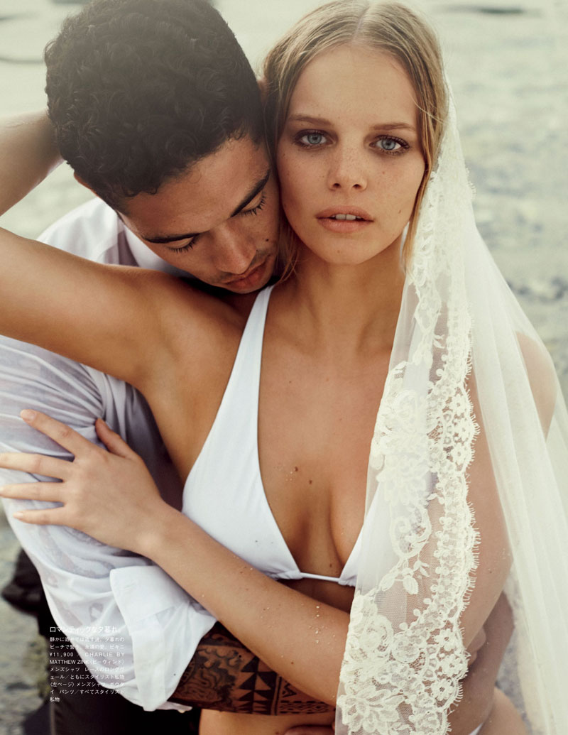 marloes horst bridal shoot9 Marloes Horst Plays a Blushing Bride for Vogue Japan Wedding Special