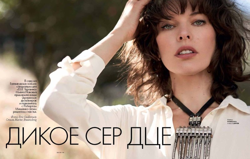 milla jovovich elle ukraine1 Milla Jovovich Poses for Eric Guillemain in Elle Ukraine July 2013