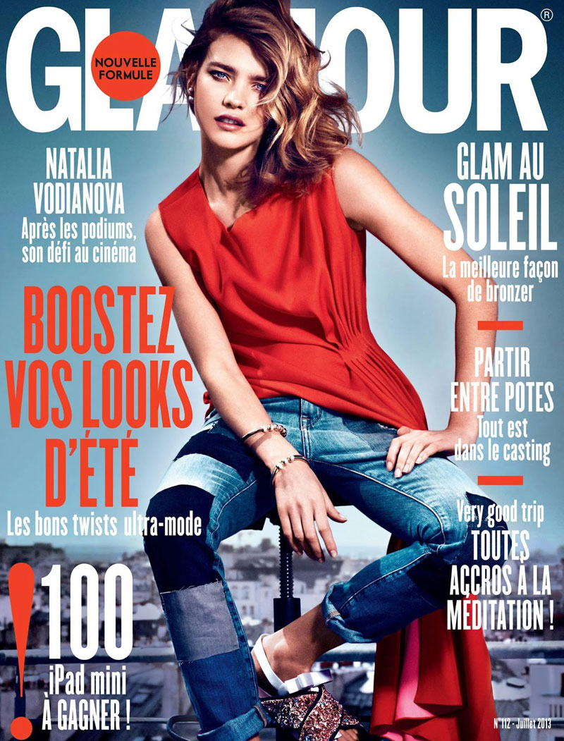 natalia glamour france1 Natalia Vodianova Rocks Red, White and Blue for Glamour France July 2013 Cover Story