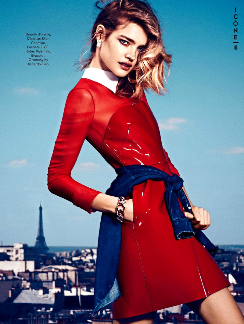 natalia glamour france4 Natalia Vodianova Rocks Red, White and Blue for Glamour France July 2013 Cover Story