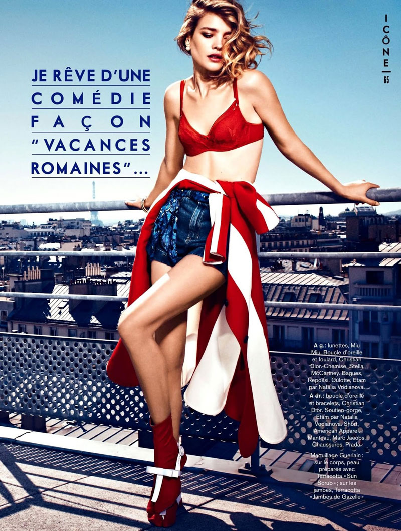 natalia glamour france5 Natalia Vodianova Rocks Red, White and Blue for Glamour France July 2013 Cover Story