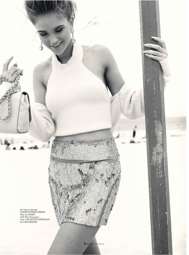 rosie tupper elle4 Rosie Tupper Poses on Australias Bondi Beach for Elle Vietnam June 2013