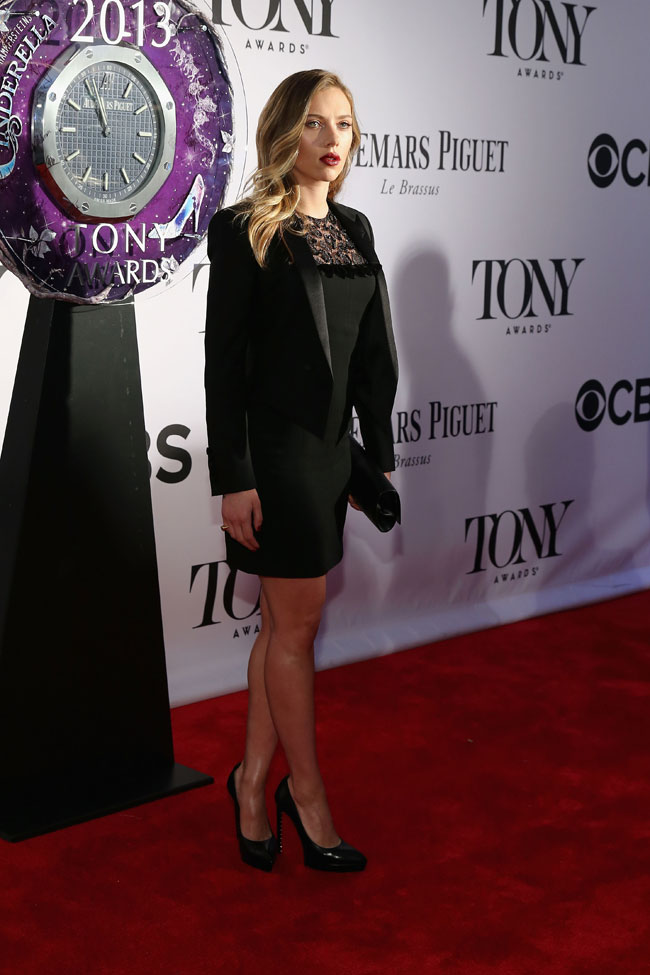 scarlett saint laurent1 Scarlett Johansson Sports Saint Laurent at the 67th Annual Tony Awards