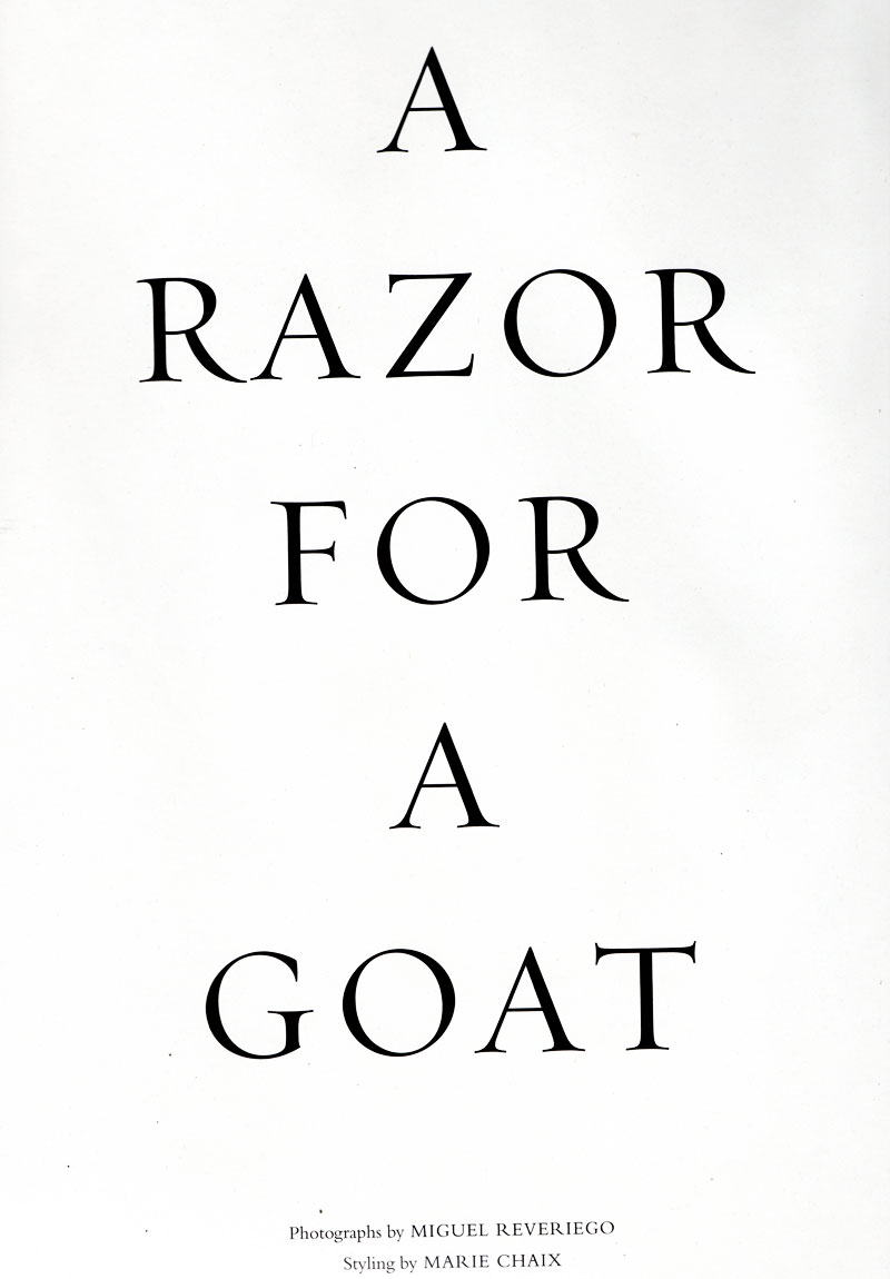 Acne Paper Sweden   A Razor for A Goat by Miguel Reveriego