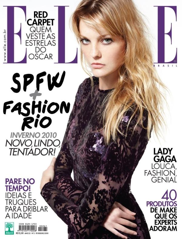 Elle Brazil February 2010 Cover | Caroline Trentini