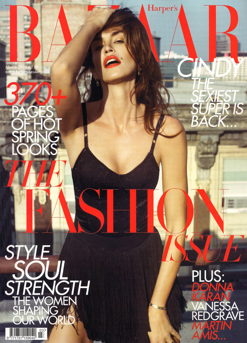 Harper's Bazaar UK March 2010 Cover | Cindy Crawford by Cédric Buchet