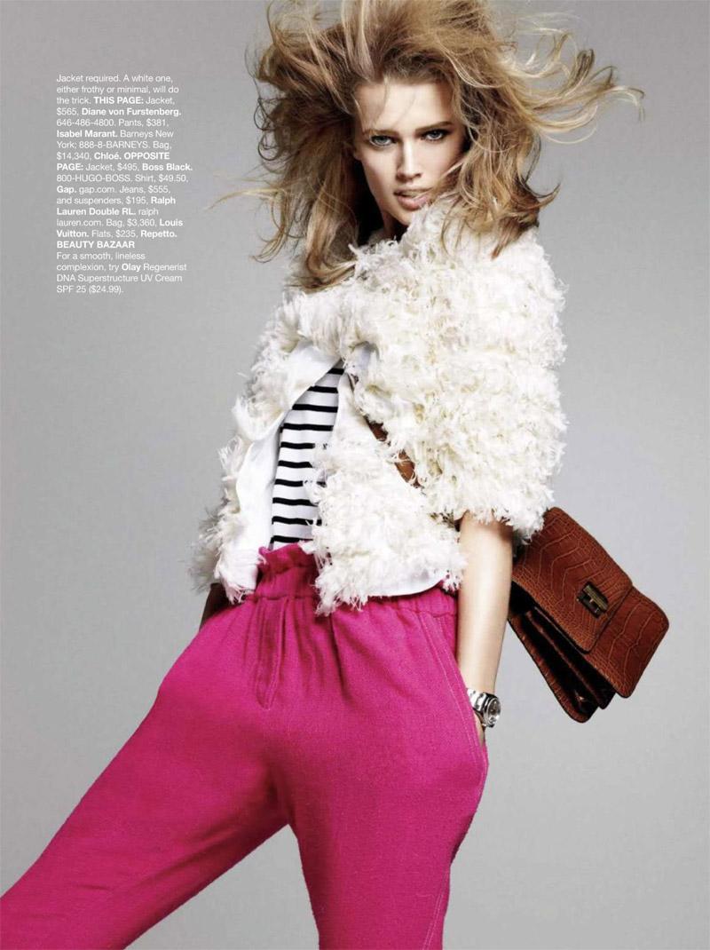 Toni Garrn by Terry Tsiolis | Harper's Bazaar US April 2010