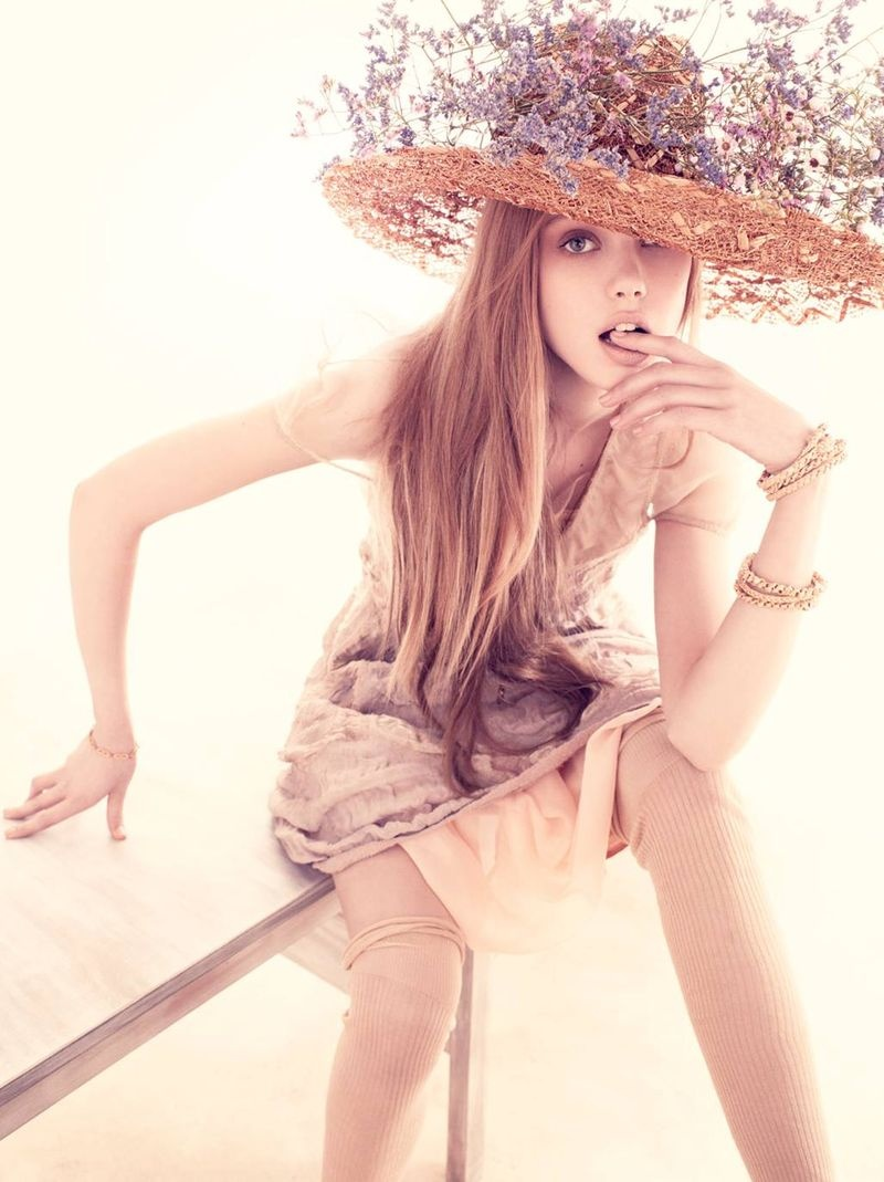 Frida Gustavsson by Andreas Sjodin for Vogue Nippon June 2010   Morning Flowers