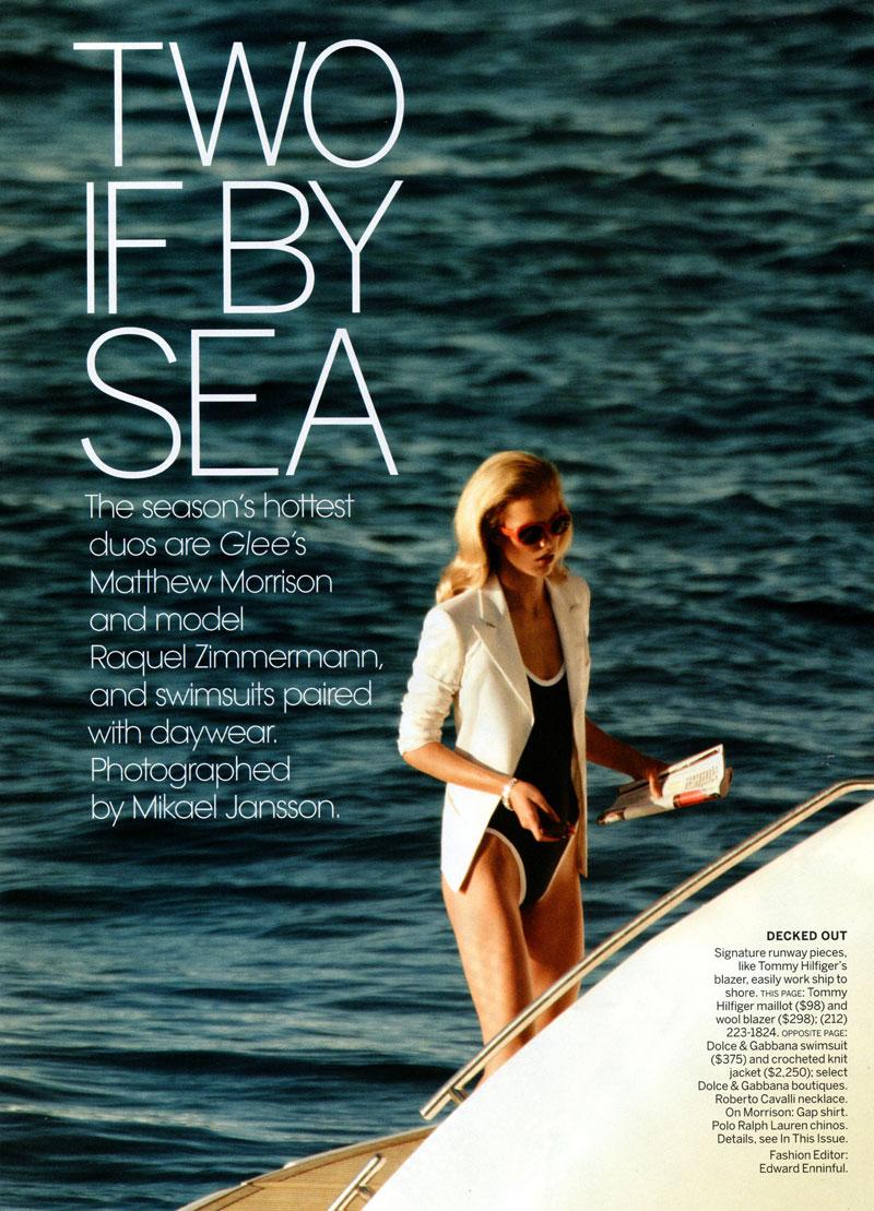 Raquel Zimmermann & Matthew Morrison for Vogue US June 2010 by Mikael Jansson