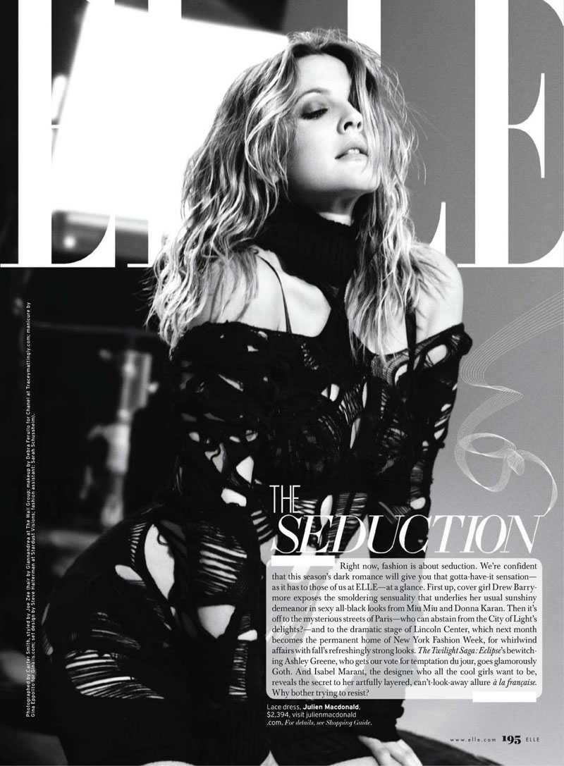 Drew Barrymore for Elle US August 2010 by Carter Smith