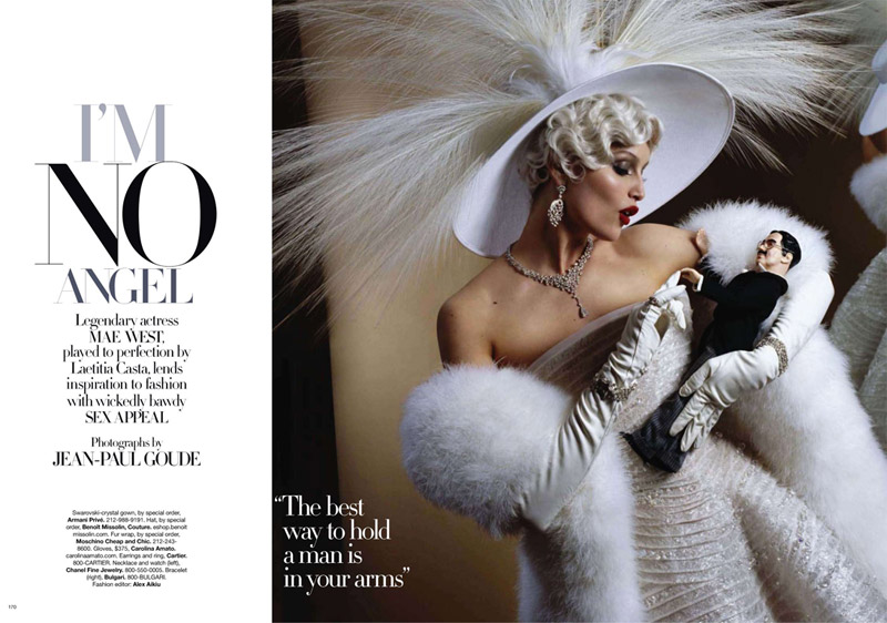 Laetitia Casta as Mae West for Harper's Bazaar US August 2010