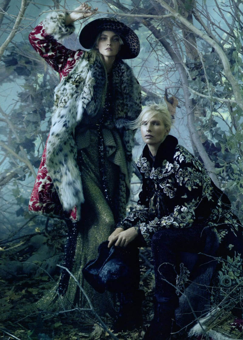 Sasha Pivovarova, Caroline Trentini & Christina Kruse in Universal Coverage by Steven Meisel | Vogue US August 2010