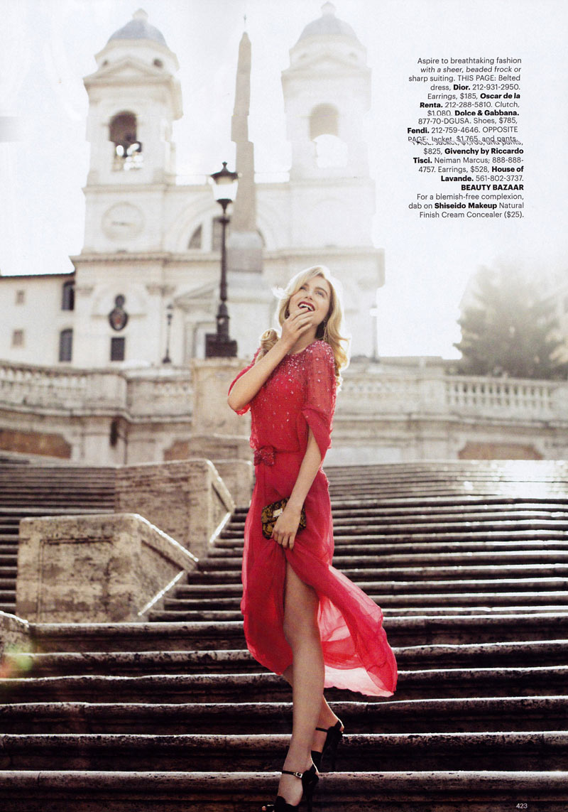Dree Hemingway by Alexi Lubomirski in Simply Red | Harper's Bazaar US September 2010