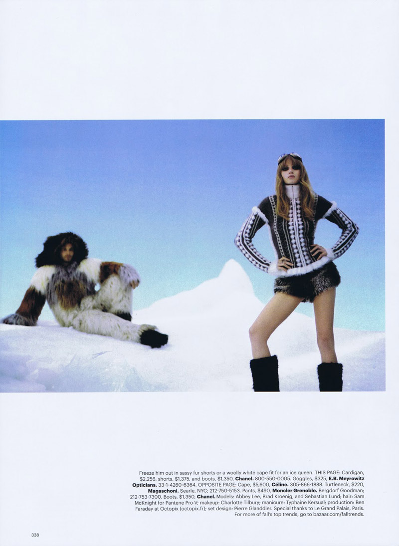 Abbey Lee Kershaw by Karl Lagerfeld in The Big Chill | Harper's Bazaar US October 2010