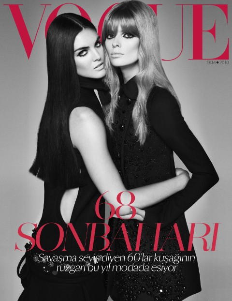 Vogue Turkey October 2010 Cover | Hilary Rhoda & Julia Stegner by Cuneyt Akeroglu