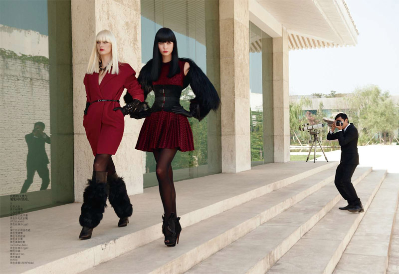 Karlie Kloss & Patricia van der Vliet by Max Vadukul for Vogue China November 2010