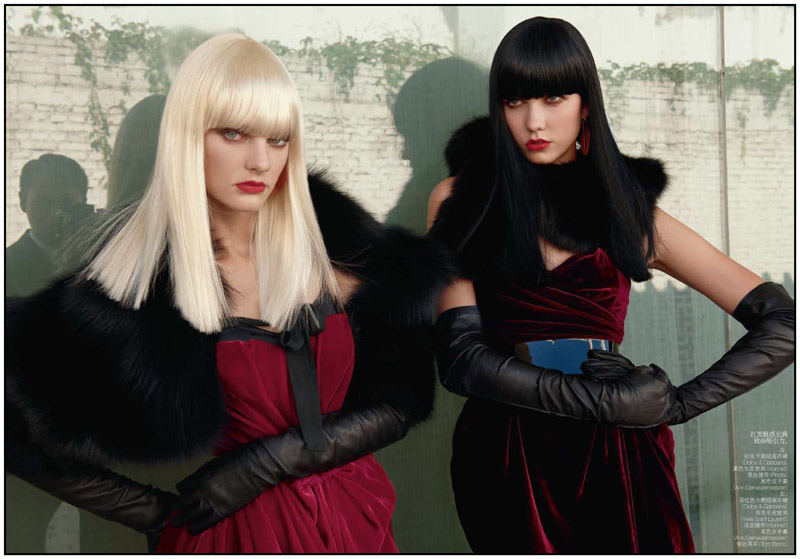 Karlie Kloss & Patricia van der Vliet by Max Vadukul for Vogue China November 2010