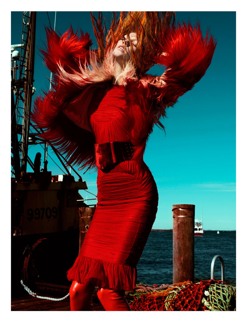 Karlie Kloss is red hot in this image for Numero #129. Photo by Greg Kadel.