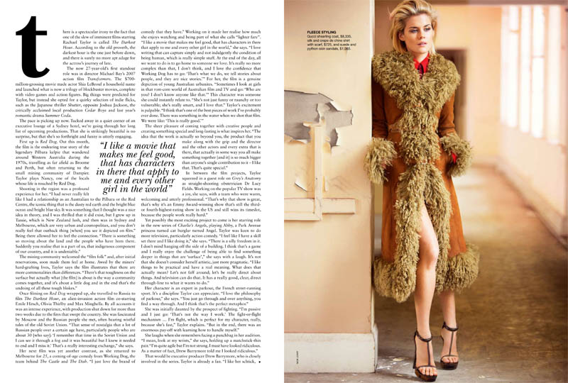 Rachael Taylor in Gucci for Vogue Australia August 2011