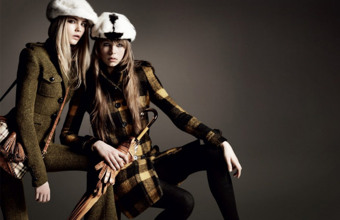 Burberry Fall 2011 Campaign |  Cara Delevingne, Edie Campbell & Milly Simmonds by Mario Testino