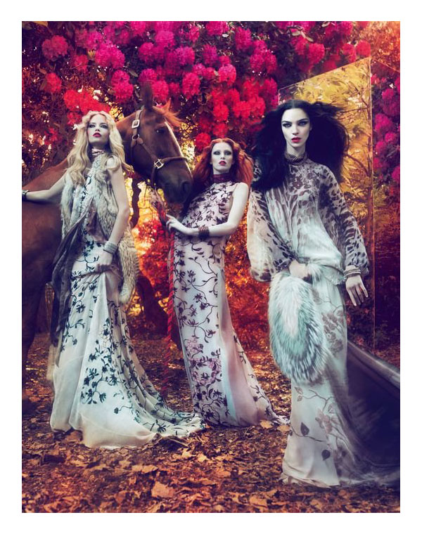 Roberto Cavalli Fall 2011 Campaign Preview   Natasha Poly, Mariacarla Boscono & Karen Elson by Mert & Marcus
