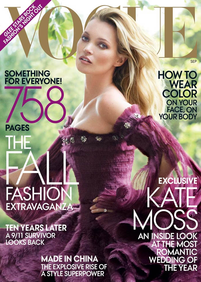 Kate Moss wore Alexander McQueen on the September issue of Vogue US.  / Photo by Mario Testino