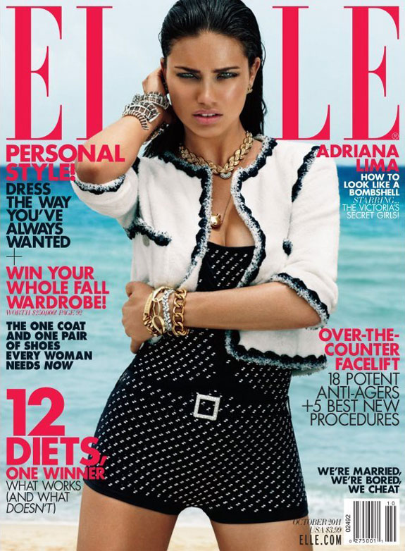 Adriana Lima, Miranda Kerr, Doutzen Kroes & Chanel Iman Cover Elle US October 2011