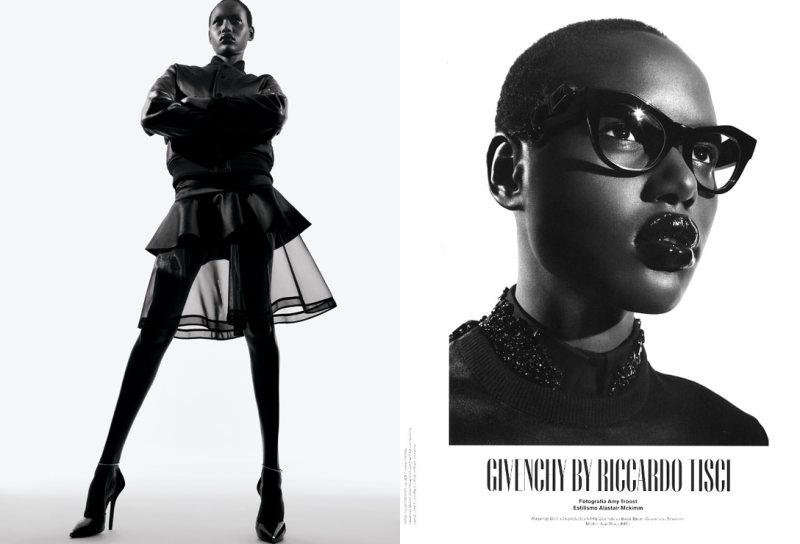Ajak Deng in Givenchy by Amy Troost for V Spain