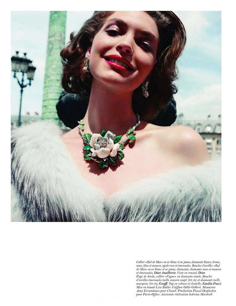 Arizona Muse donned sparkling gems for the October edition of Vogue Paris. / Photo by Inez & Vinoodh
