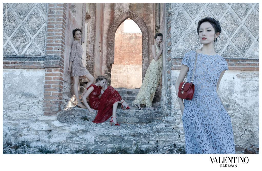 Bette Franke, Fei Fei Sun, Zuzanna Bijoch & Maud Welzen for Valentino Spring 2012 Campaign by Deborah Turbeville