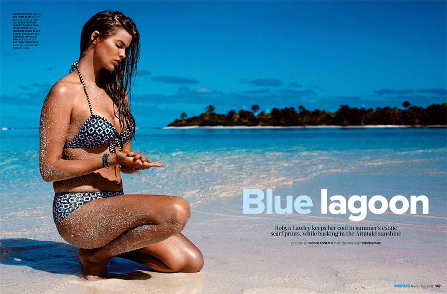 Robyn Lawley Wows in Swimwear Looks for Cosmopolitan Australia November 2012 by Steven Chee