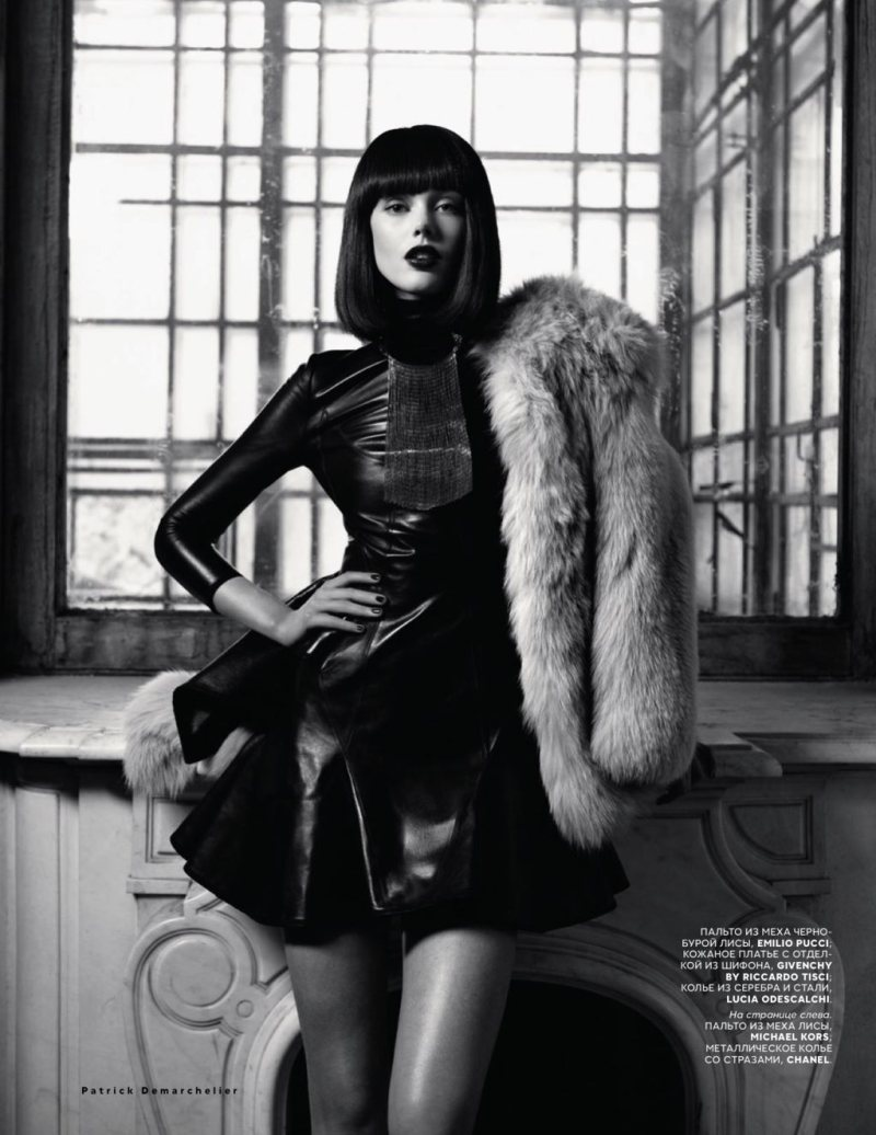 Frida Gustavsson Models Luxe Furs for Vogue Russia October 2012 by Patrick Demarchelier