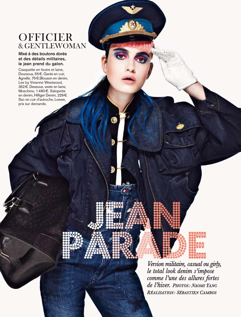 Pauline Van der Cruysse Models Denim Fashion for Glamour France by Naomi Yang