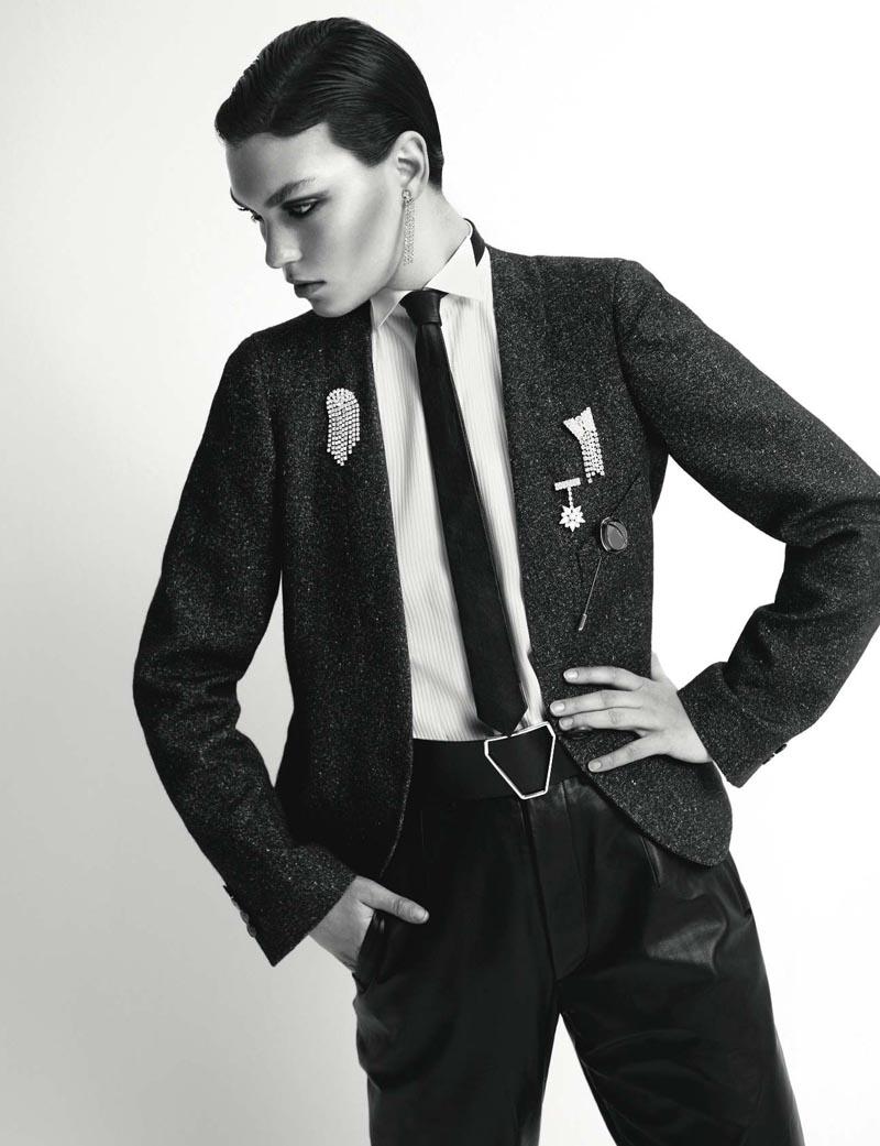 Arizona Muse Dons Menswear Shapes for Vogue Russia November 2012 by Richard Bush