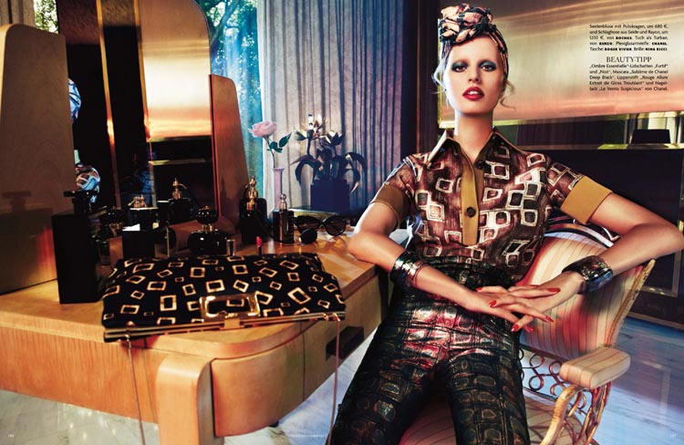 Karolina Kurkova Has a Laugh for Vogue Germany November 2012 by Giampaolo Sgura