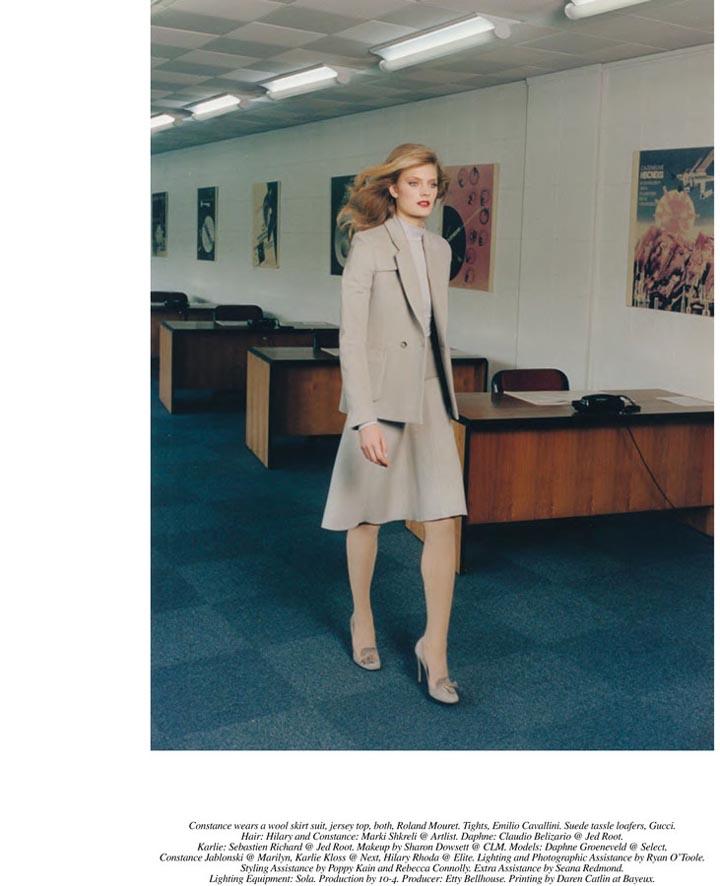 Karlie Kloss, Daphne Groeneveld, Hilary Rhoda and Constance Jablonski Seduce the Office in Venetia Scott's Self Service Shoot