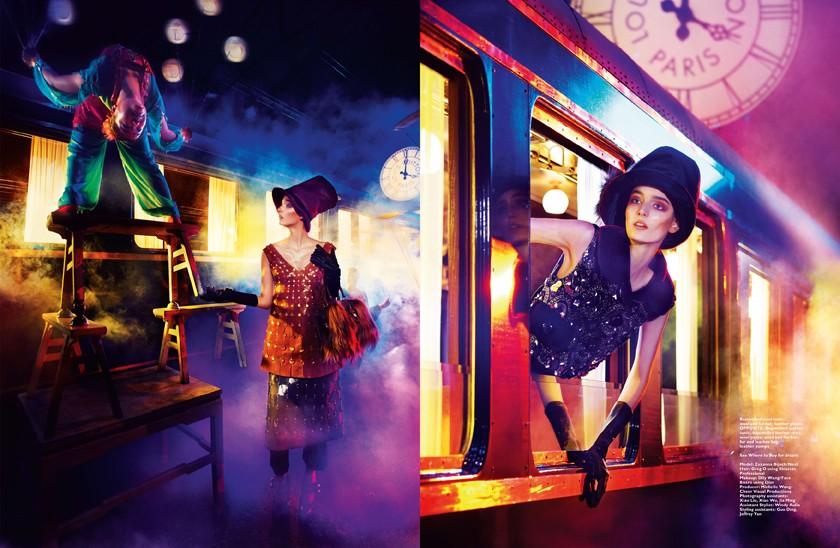 Zuzanna Bijoch Travels in Louis Vuitton for Harper's Bazaar Singapore by Gan