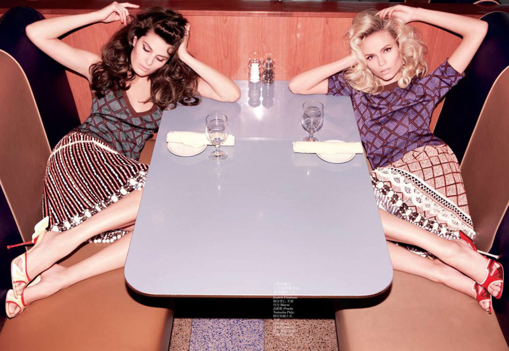 Natasha Poly & Isabeli Fontana by Inez & Vinoodh for Vogue China March 2012