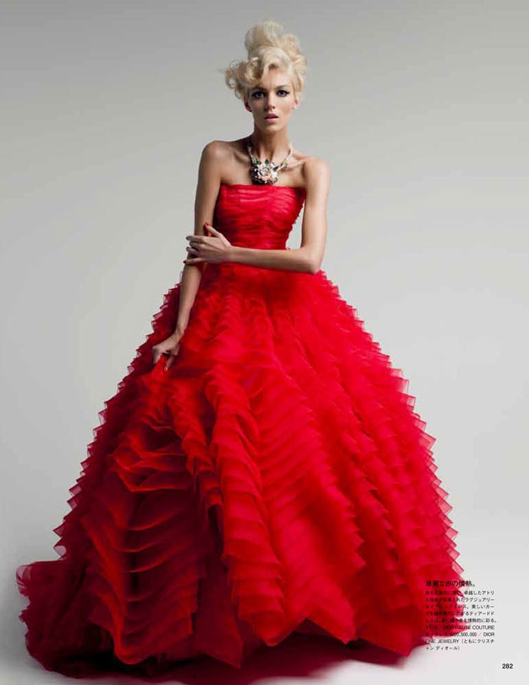 Anja Rubik by Patrick Demarchelier in Dior Couture for Vogue Japan May 2012
