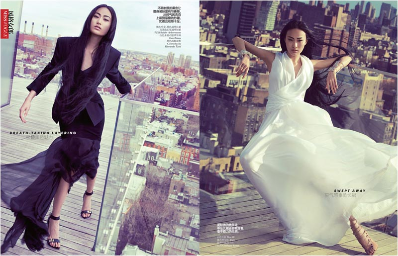 Shu Pei is On a High for Lincoln Pilcher's Vogue China Shoot